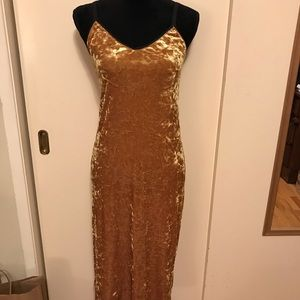 Gold velvet top shop dress
